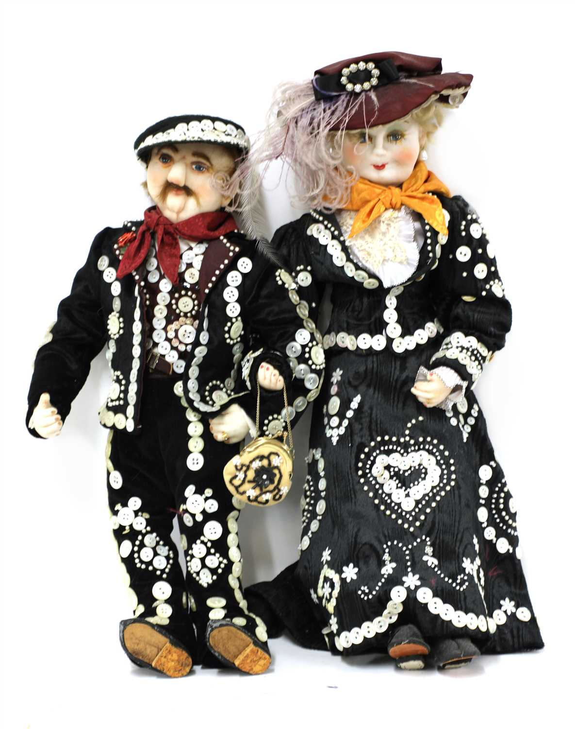 Lot 58 - PEARLY KING AND QUEEN DOLLS,