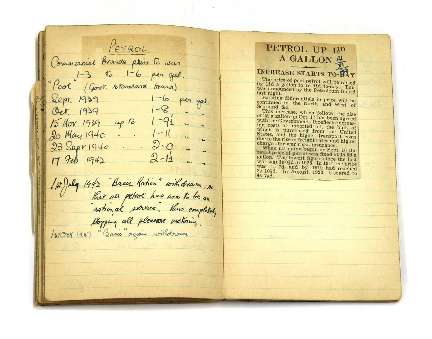 Lot 3 - WW2 HOME FRONT ARP WARDEN'S PERSONAL NOTEBOOK,