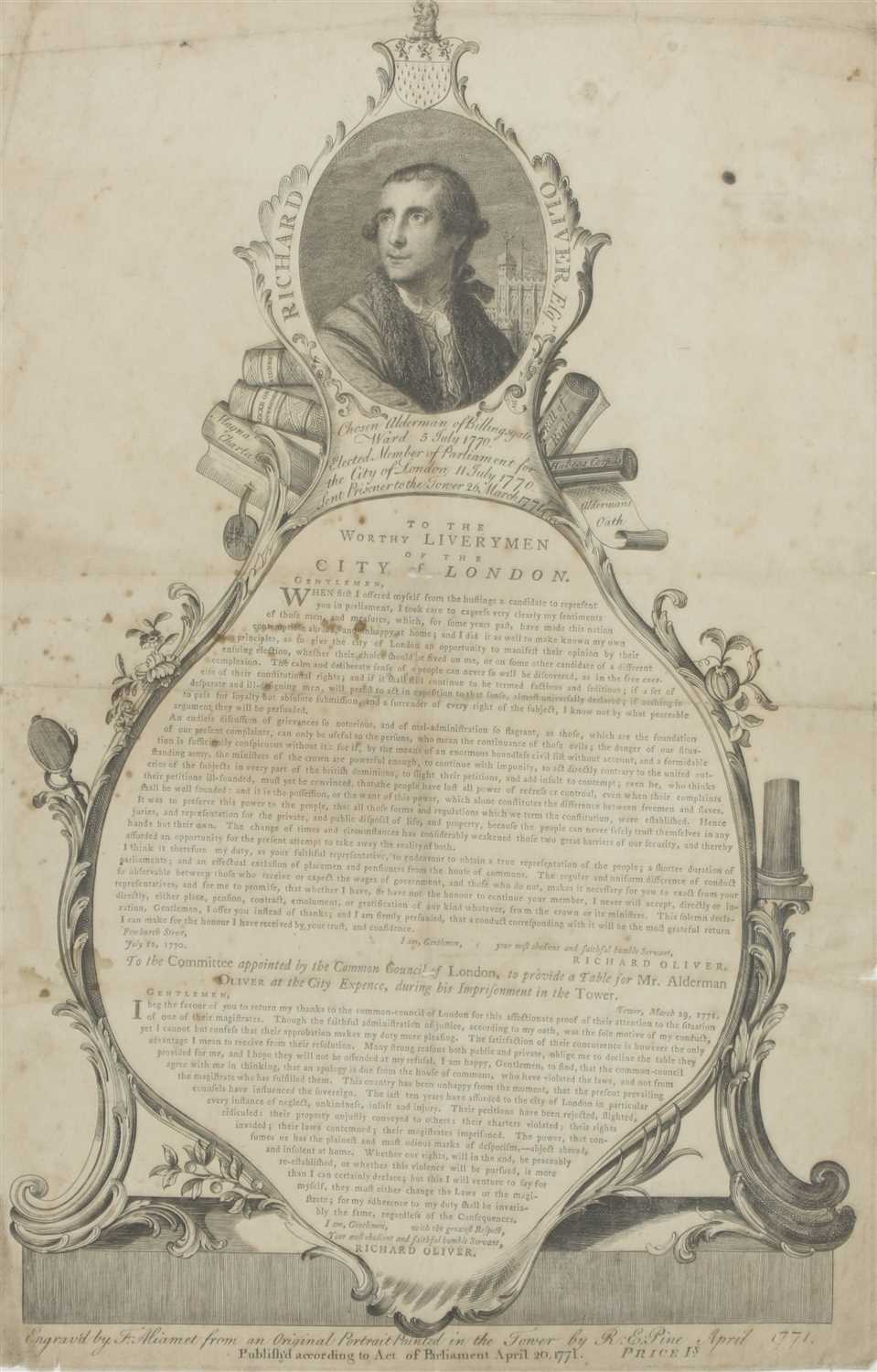 Lot 21 - FROM RICHARD OLIVER ESQ. TO THE WORTHY LIVERYMEN OF THE CITY OF LONDON