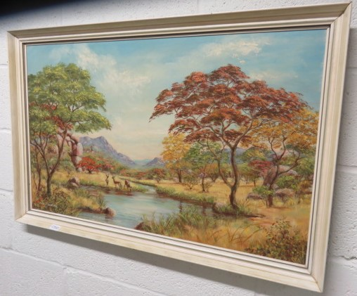 Lot 127A - A print of a landscape scene with deer in the foreground