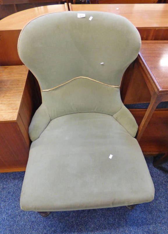 Lot 633 - GREEN COVERED 19TH CENTURY CHAIR ON TURNED MAHOGANY SUPPORTS