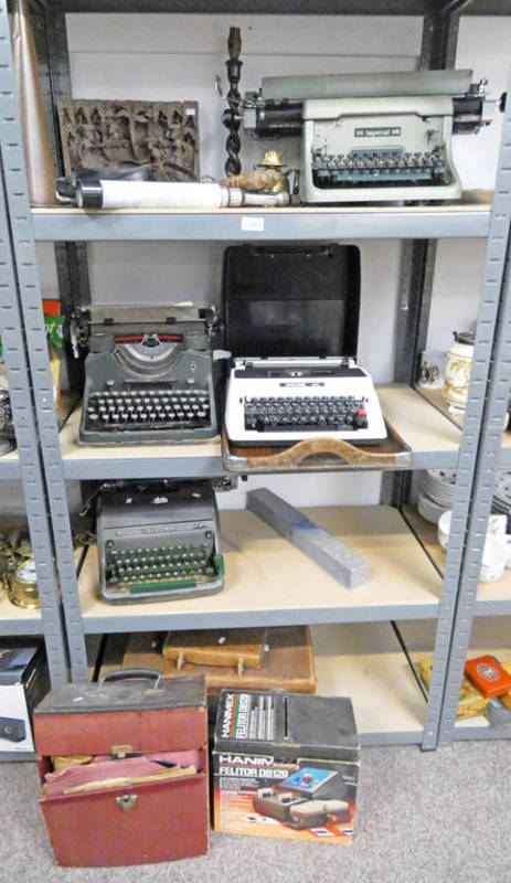 Lot 3025 - SELECTION OF ITEMS TO INCLUDE A IMPERIAL 66 TYPEWRITER & 3 OTHERS, INTERESTING CARVED WOODEN PANEL,