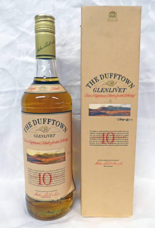 Lot 4052 - 1 BOTTLE DUFFTOWN-GLENLIVET 10 YEAR OLD SINGLE MALT WHISKY - 75CL, 40% VOLUME, BOXED.