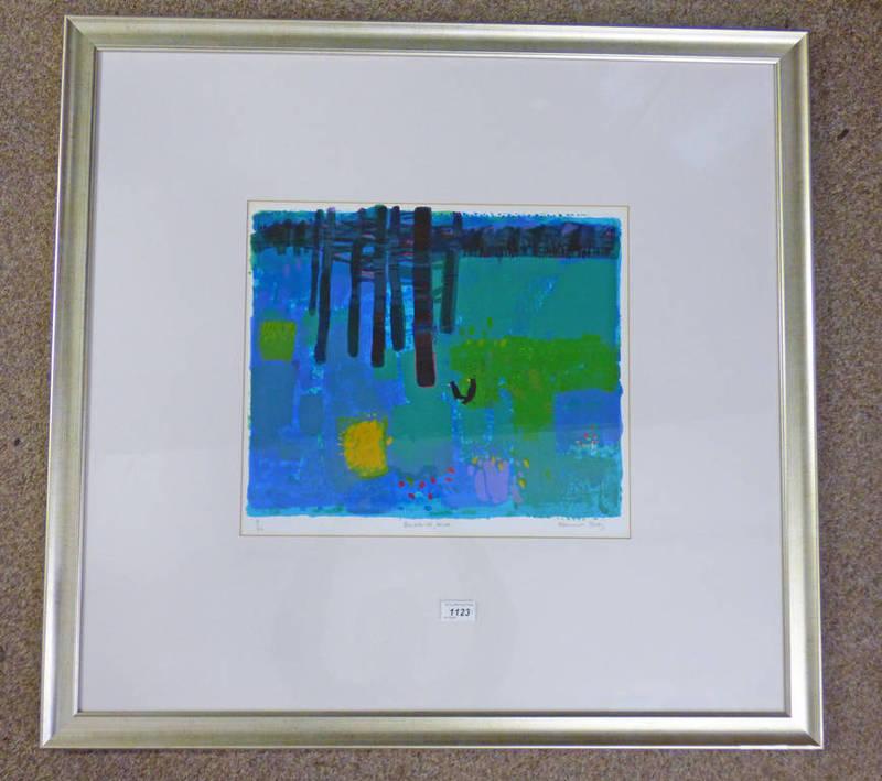 Lot 1123 - FRANCES BOAG, BLACKBIRDS BLUE, SIGNED IN PENCIL,