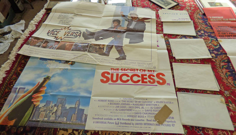 Lot 1195 - 7 QUAD FILM POSTERS TO INCLUDE VICE VERSA, THE SECRET OF MY SUCCESS, STEPPING OUT, RADIO DAYS,