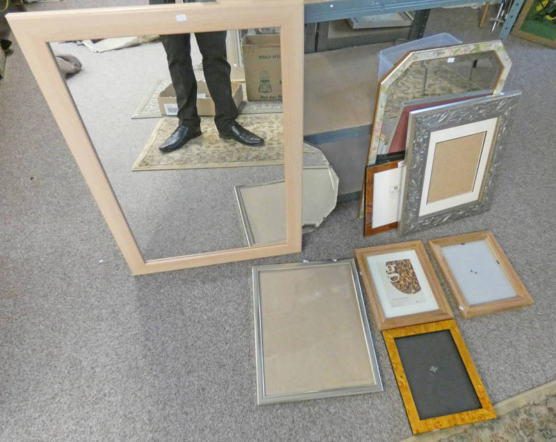 Lot 1207 - BEECHCRAFT MIRROR - OVERALL SIZE 33 CMS X 60 CMS, SELECTION OF PHOTOGRAPH FRAMES,