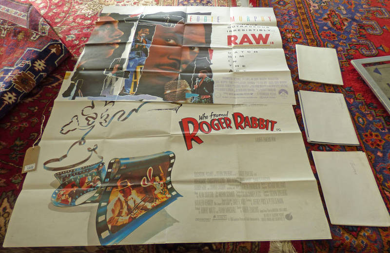 Lot 1222 - 5 QUAD FILM POSTERS TO INCLUDE WHO FRAMED RODGER RABBIT, RAW, BUSTER,