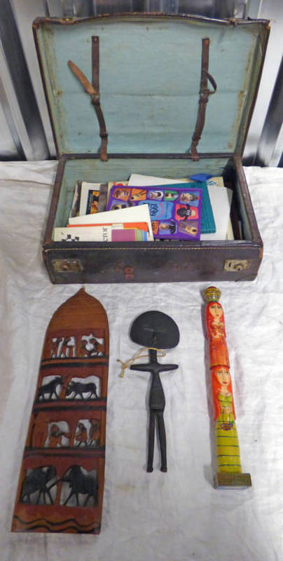 Lot 6120 - LEATHER TRAVELLING SUITCASE & CONTENTS TO INCLUDE CARVED AFRICAN HARDWOOD FIGURE,