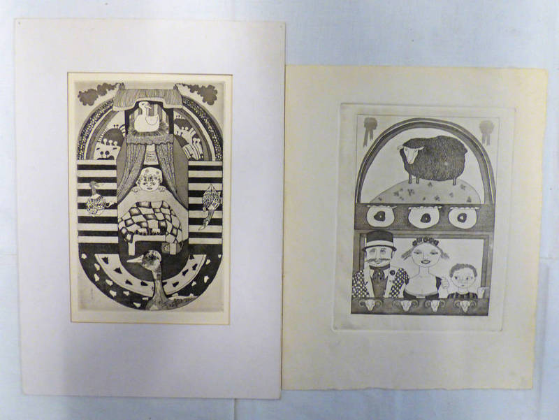 Lot 6028 - SELECTION OF VARIOUS DRAWINGS AND ETCHINGS, UNSIGNED,