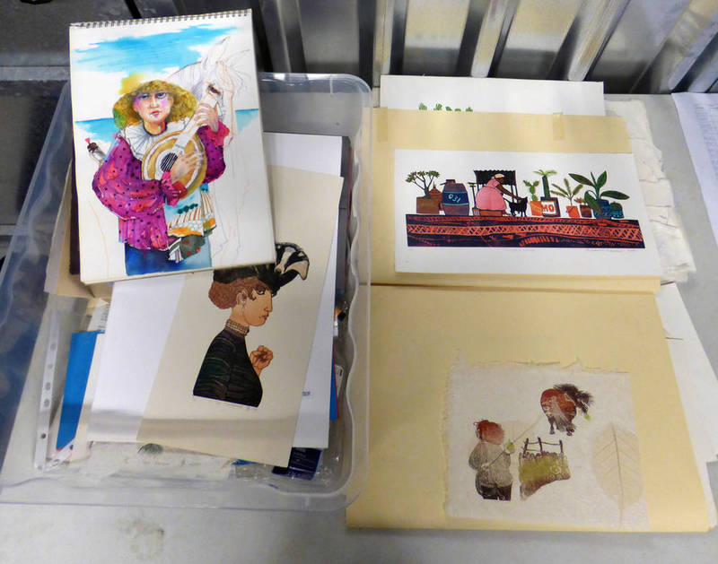 Lot 6080 - BOX CONTAINING SIGNED AND UNSIGNED LINOCUT PRINTS, SOME ON HANDCRAFTED PAPER, PHOTO ALBUMS,