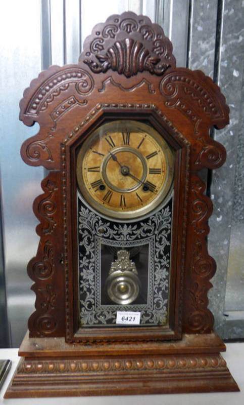 Lot 6421 - LATE 19TH CENTURY/EARLY 20TH CENTURY AMERICAN MANTLE CLOCK WITH DECORATIVE CARVED BASE