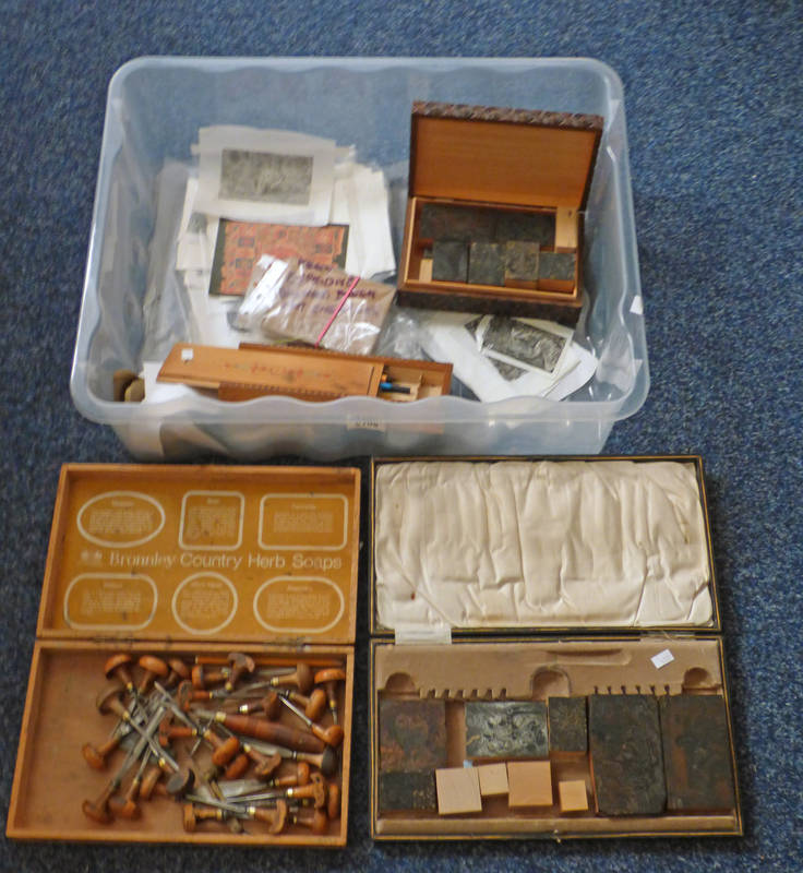 Lot 6109 - SELECTION OF WOOD-ENGRAVING TOOLS AND MANY WOOD BLOCKS,
