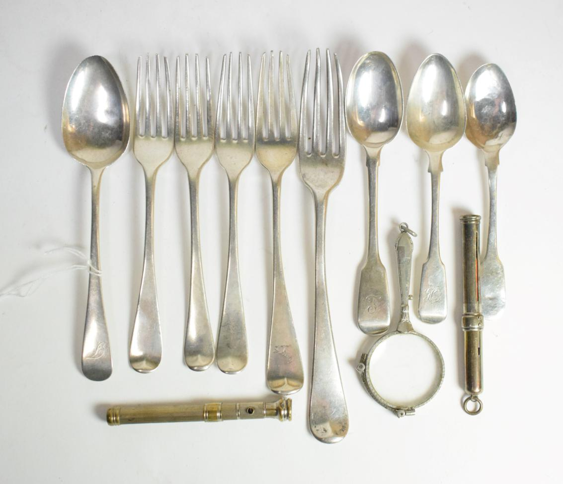 Lot 16 - A group of George III/Victorian silver flatware; a pair of plated lorgnettes; and two various pencil