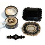 A collection of Victorian mourning jewellery, comprising of an 18 carat gold ring, finger size M;