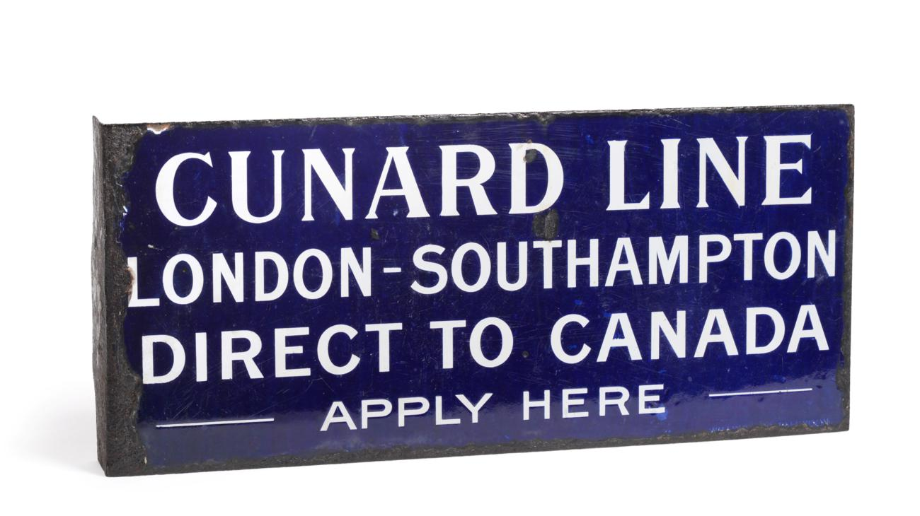 Lot 2117 - Cunard Line Enamel Wall Mounted Sign 'Cunard Line London-Southampton Direct to Canada - Apply