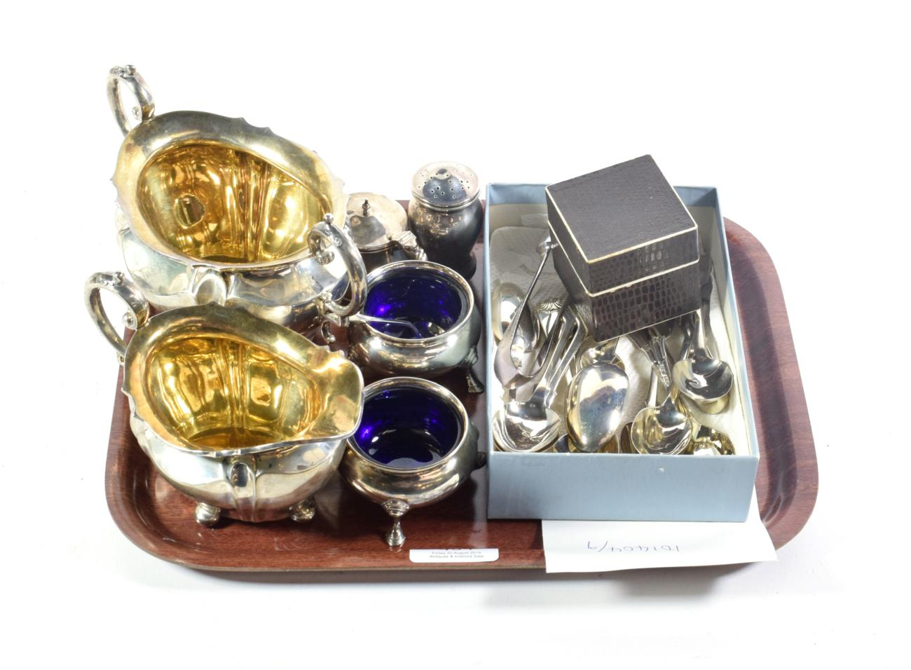 Lot 434 - Silver twin handled sugar bowl and matching cream jug; pair of silver salts and various other silver