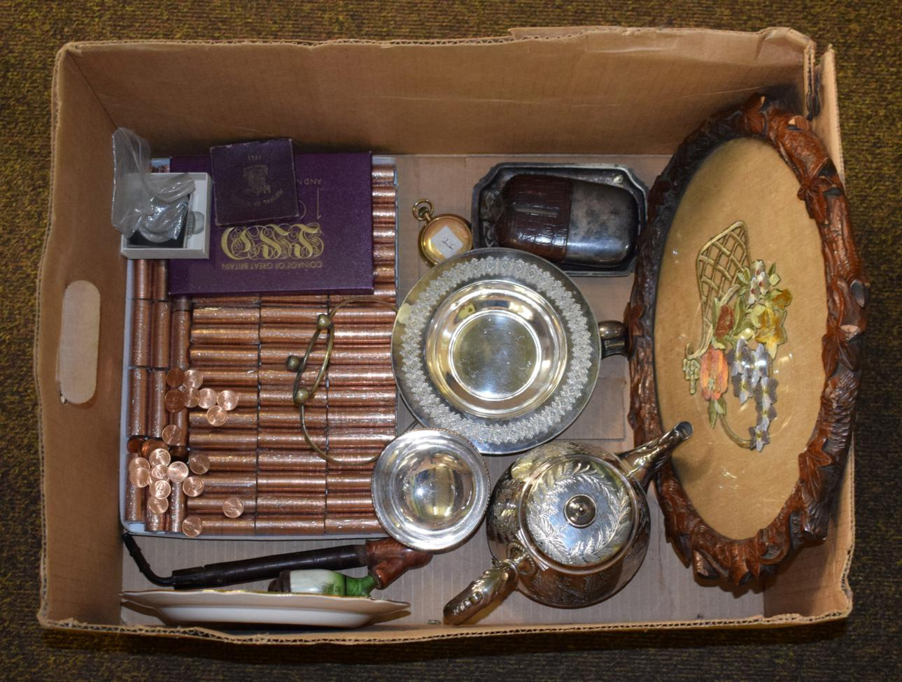 Lot 435 - Group of miscellaneous items including a Waltham plated pocket watch, very large quantity of half