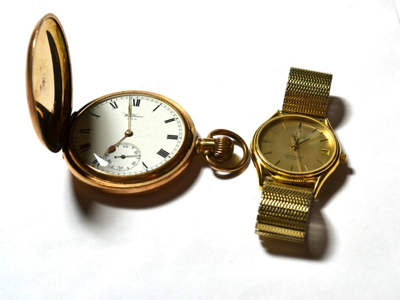 Lot 178 - A gent's gilt metal Omega Seamaster with date aperture, together with a Waltham gilt metal pocket