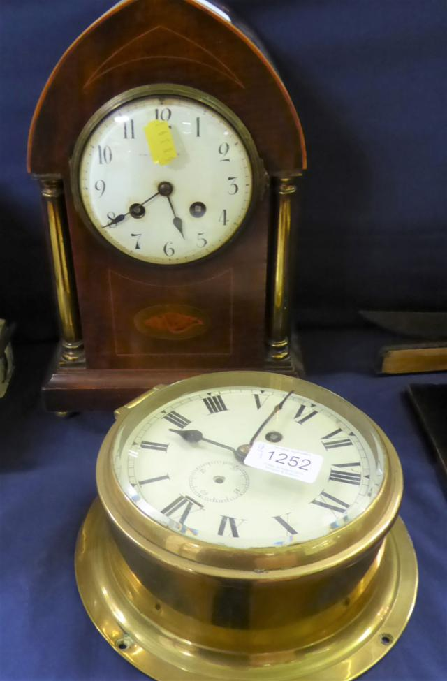 Lot 1252 - ~ A ''boulle'' clock case (a.f.); an American mantel clock, a lancet shaped striking inlaid mantel