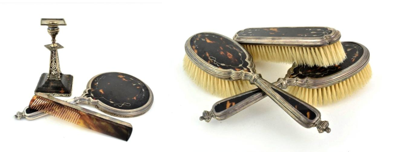 Lot 50 - A Victorian Silver and Tortoiseshell Candlestick, by J. Batson and Son, London, 1899, the pierced