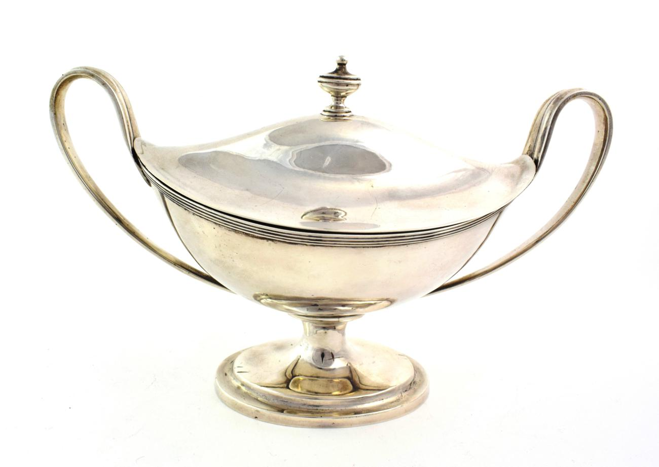 Lot 36 - A George III Silver Sauce-Tureen and Cover, by Abstainando King, London, 1802, boat-shaped and on