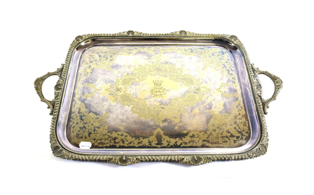 Lot 6 - A Victorian Silver-Plated Tray, by Atkin Brothers, Sheffield, Late 19th century, oblong and with