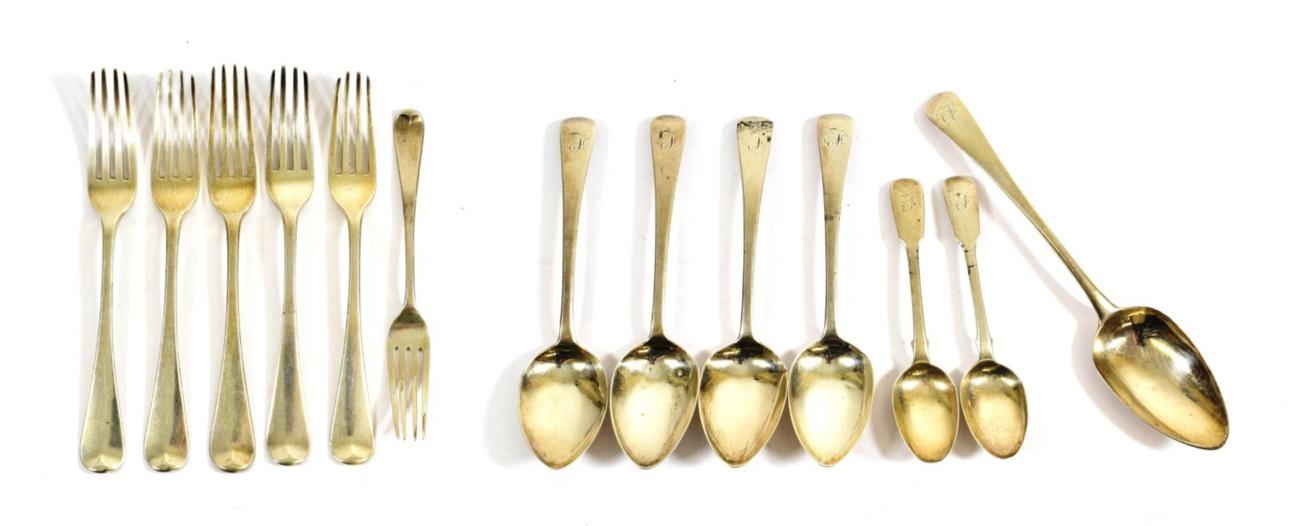 Lot 27 - A Collection of George III and George IV Silver Flatware, Old English pattern, engraved with an