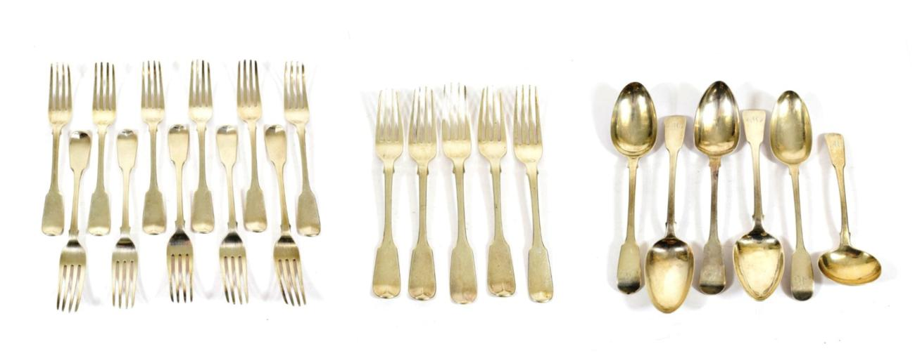 Lot 39 - A Collection of George III, George IV, William IV and Victorian Silver Flatware, Fiddle pattern,