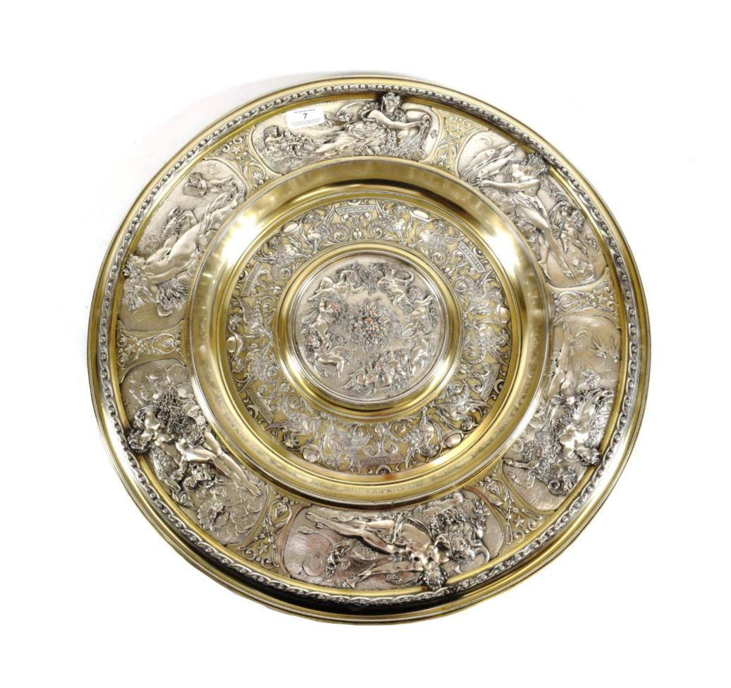 Lot 7 - A Victorian Parcel-Gilt Silver-Plated Rosewater Dish or Charger, by Elkington, Late 19th Century,