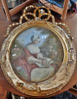 Lot 49 - 19th c. oval giltwood and gesso frame with entwined ribbon enclosing convex glass portrait of a