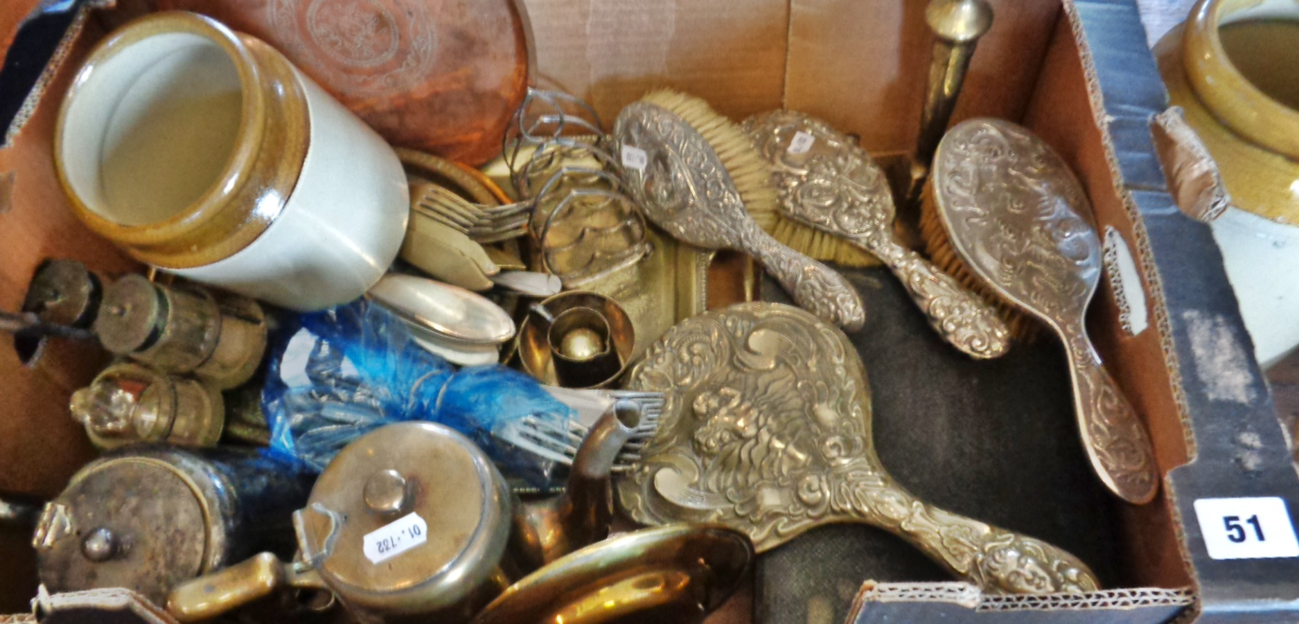 Lot 51 - Art Nouveau silver backed brushes and mirror, silver plated items, cutlery, cruet set, etc.