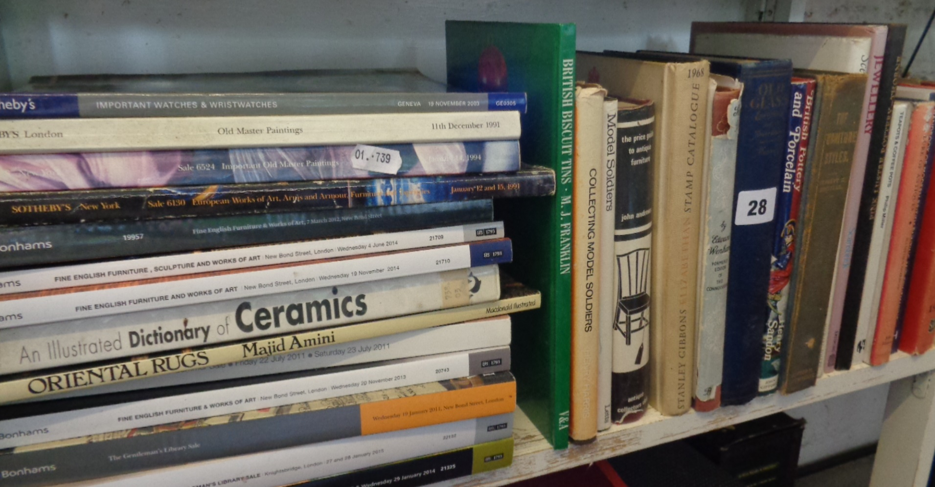 Lot 28 - Shelf of books relating to antiques, stamps, model soldiers, etc.