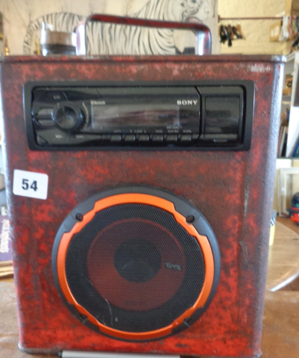 Lot 54 - Old petrol can converted into a CD player for festivals, camping, etc. (together with battery