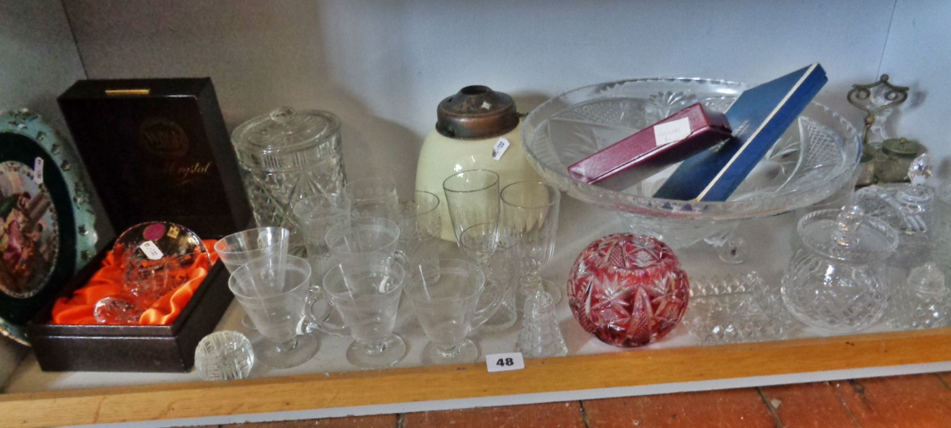 Lot 48 - Royal Worcester boxed items, glassware, inc. custard cups, Webb Crystal boxed vase, etc.