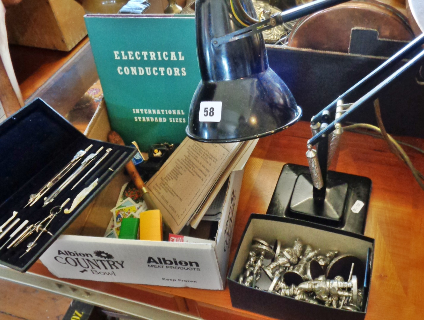 Lot 58 - 1930s Herbert Terry black Anglepoise lamp with stepped base, box of Royal Hampshire pewter