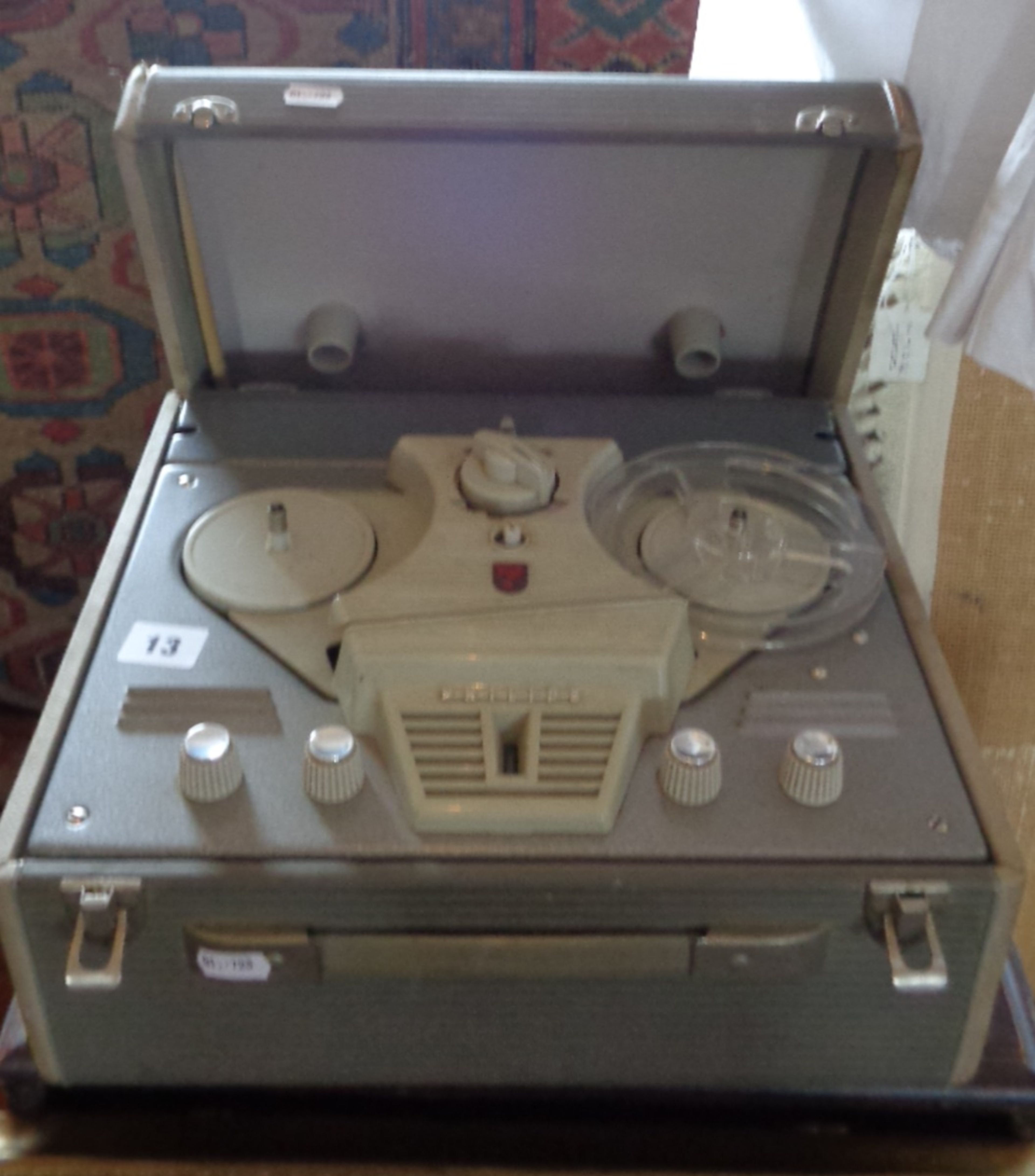 Lot 13 - Vintage Philips reel-to-reel tape recorder in case