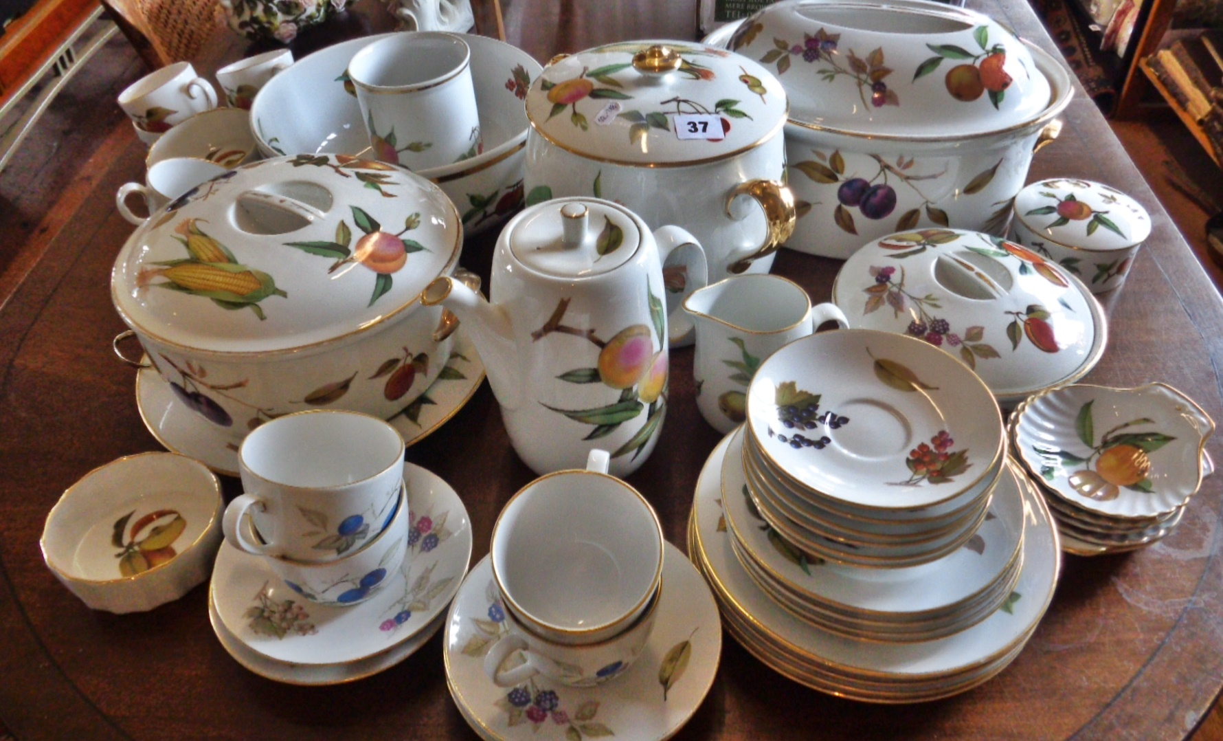 Lot 37 - Extensive Royal Worcester Evesham collection, inc. tureens, coffee pot, cups and saucers, plates,