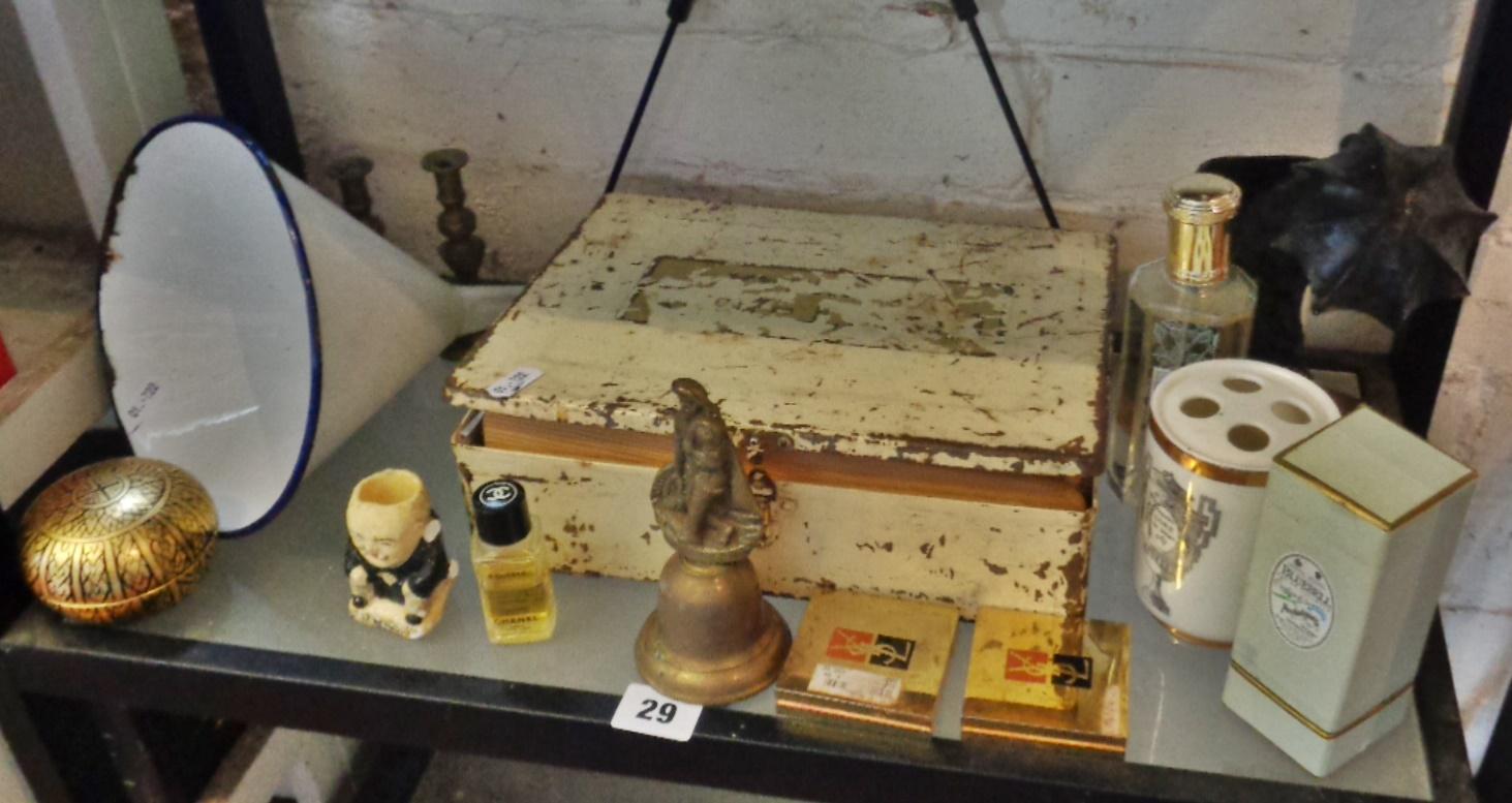 Lot 29 - Vintage First Aid tin, enamel funnel, vintage perfumes, brassware, etc.
