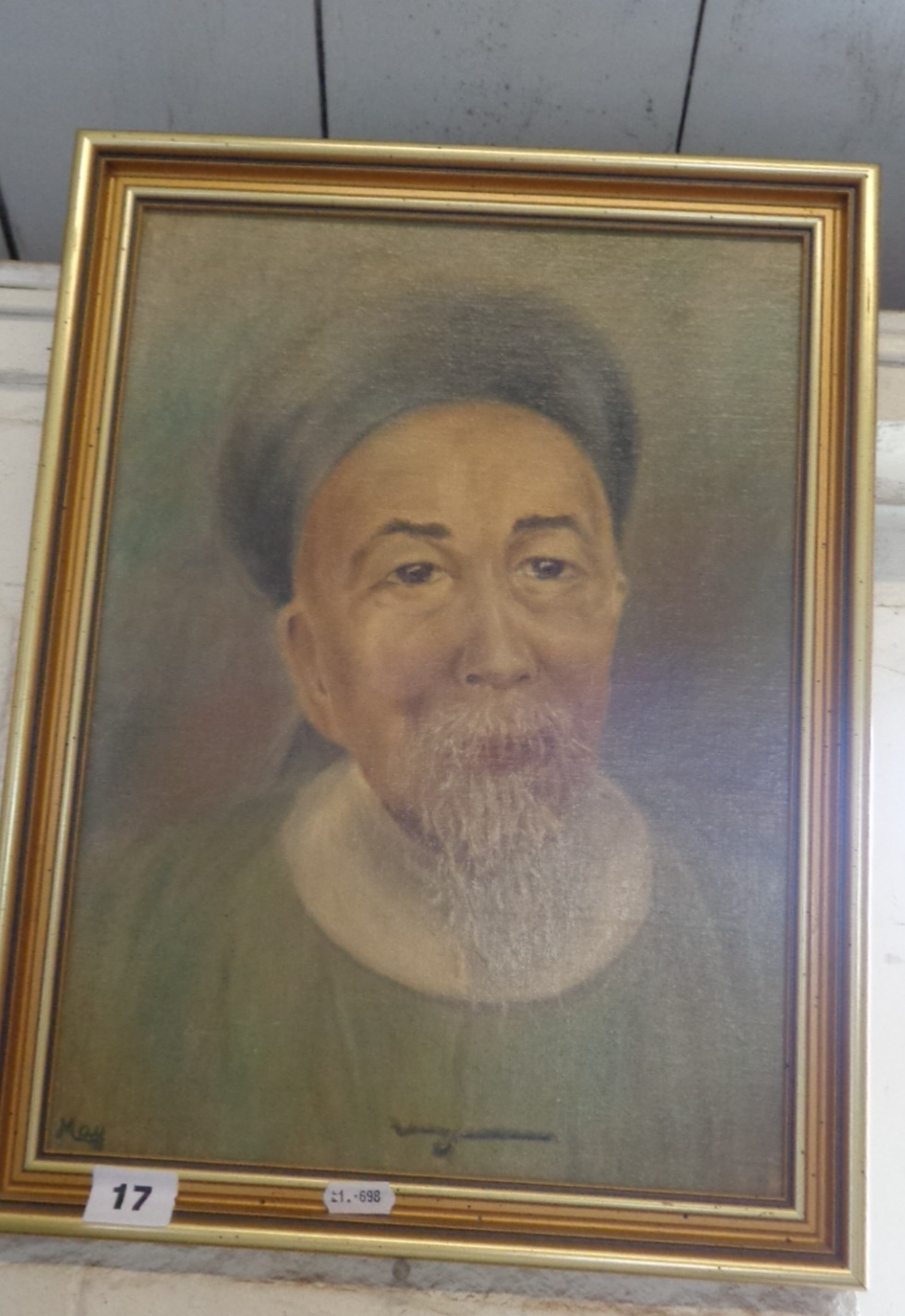 """Lot 17 - Oil portrait on board of Li Hung Chang, (Viceroy 1823-1901), signed """"May"""""""