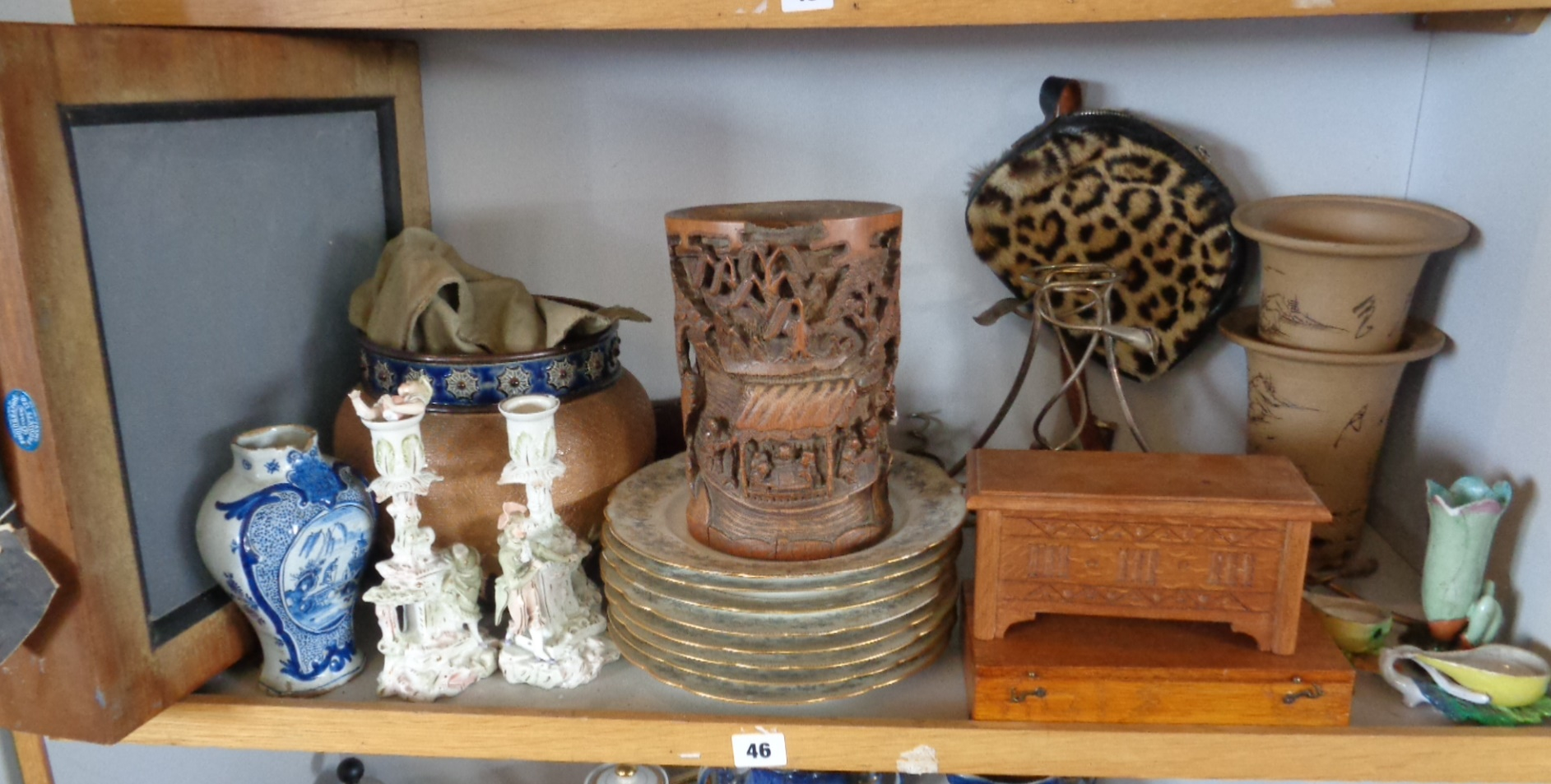 Lot 46 - Shelf of assorted items, inc. Doulton Stoneware jardiniere, Chinese carved bamboo brush pot (A/F), 8