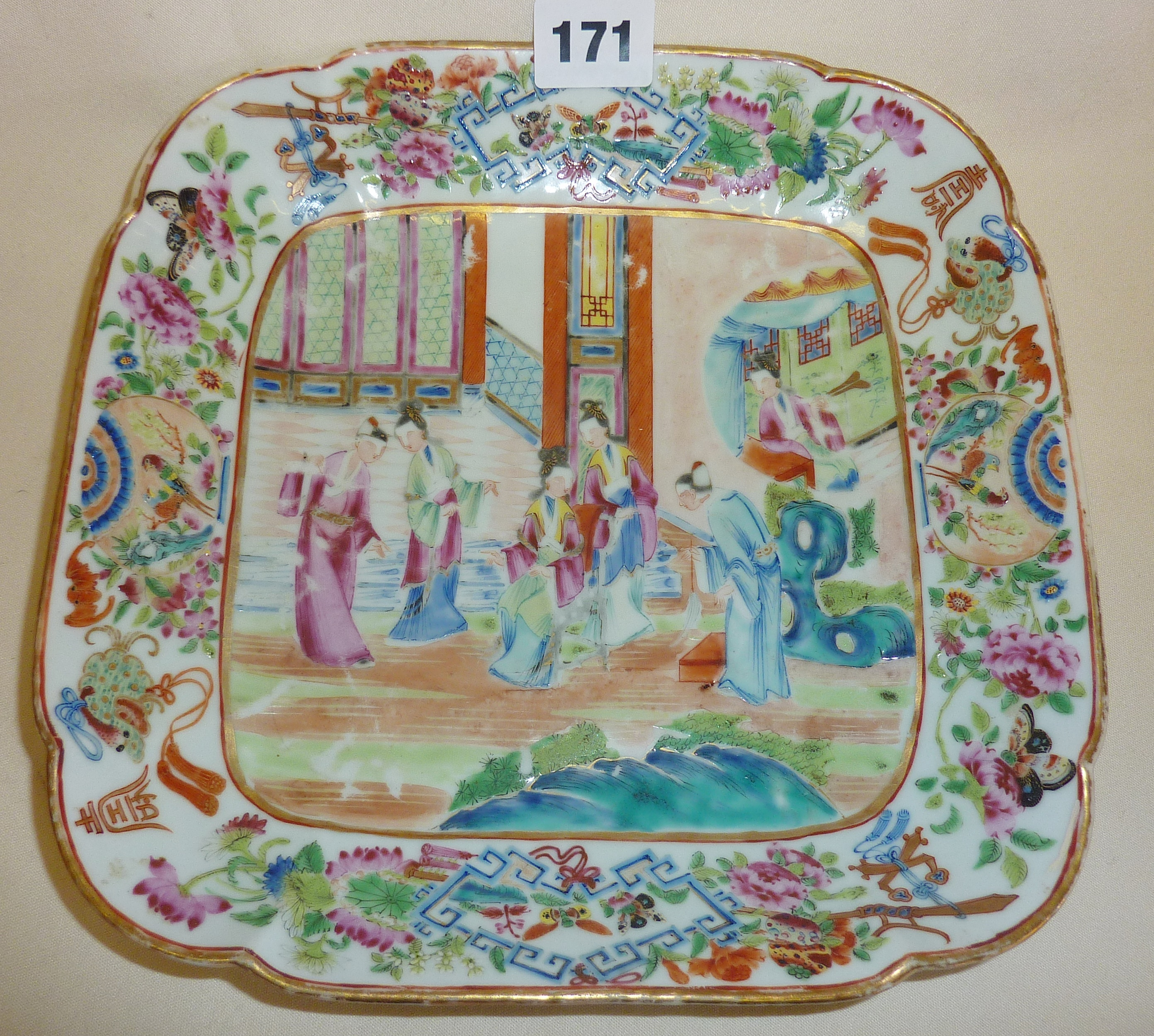 "Lot 171 - 19th century Canton porcelain square Chinese figures plate or dish, approx. 9.25"" wide"
