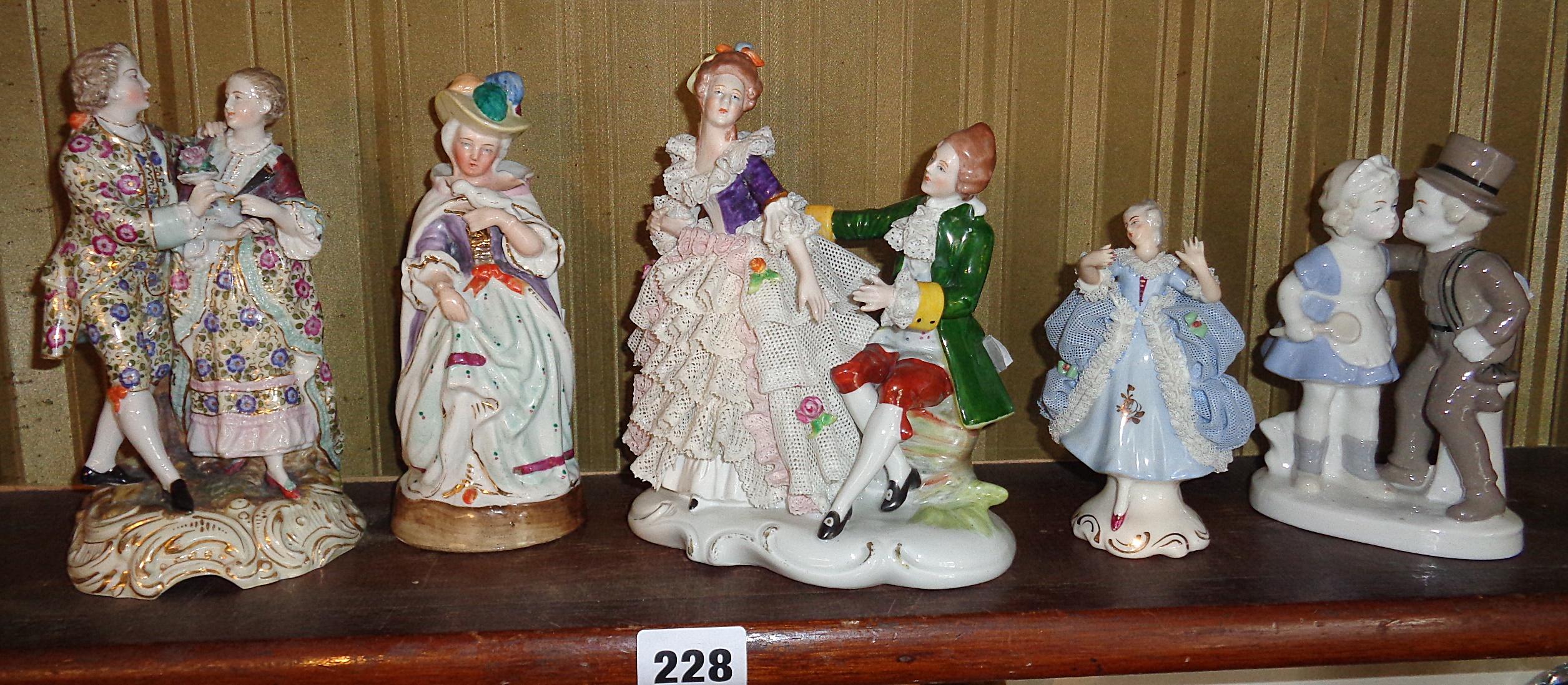 Lot 228 - Shelf of Continental porcelain figures