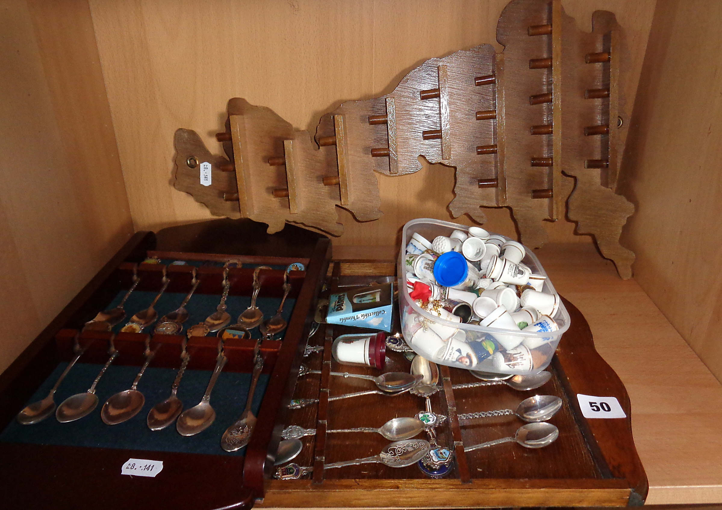 Lot 50 - Collection of china thimbles and souvenir spoons