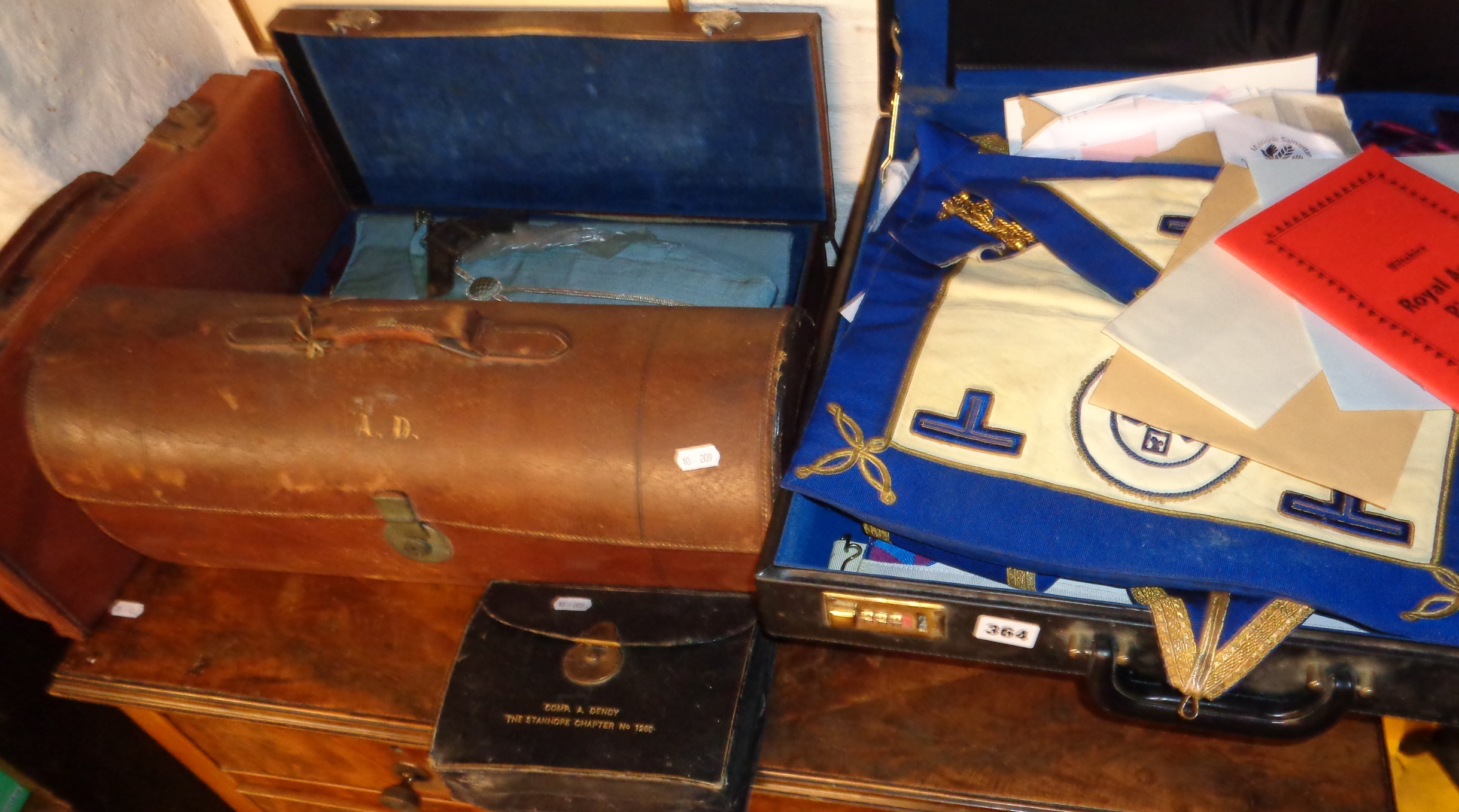 Lot 364 - Case containing Masonic aprons, accessories, documents etc