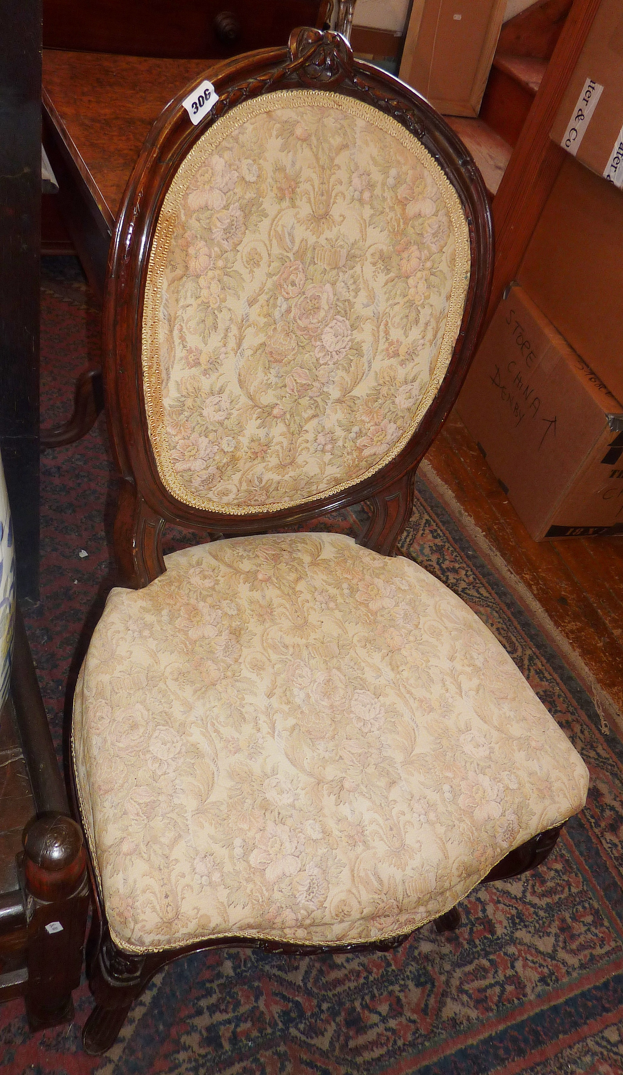 Lot 306 - Pair 19th century French salon chairs with upholstered balloon-backs and seats on carved cabriole