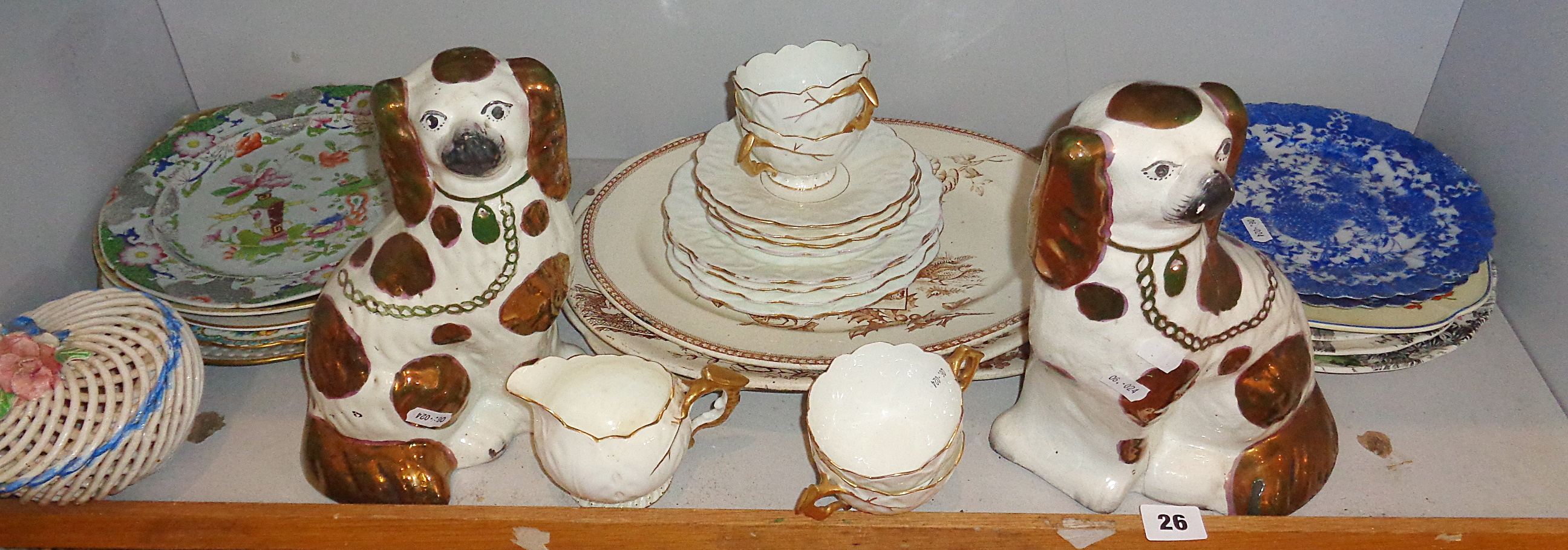 Lot 26 - Pair of Staffordshire Spaniels and a pair of Japanese blue and white plates and other assorted