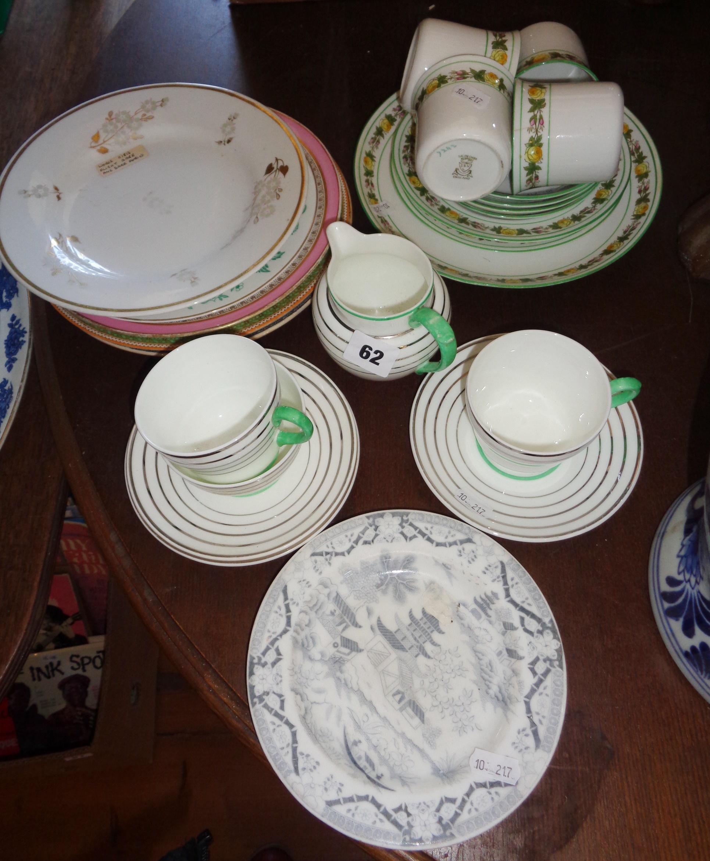 Lot 62 - Wedgwood Art Deco tea cups and saucers, Grainger & Son Worcester side plate, Worcester Flight & Barr