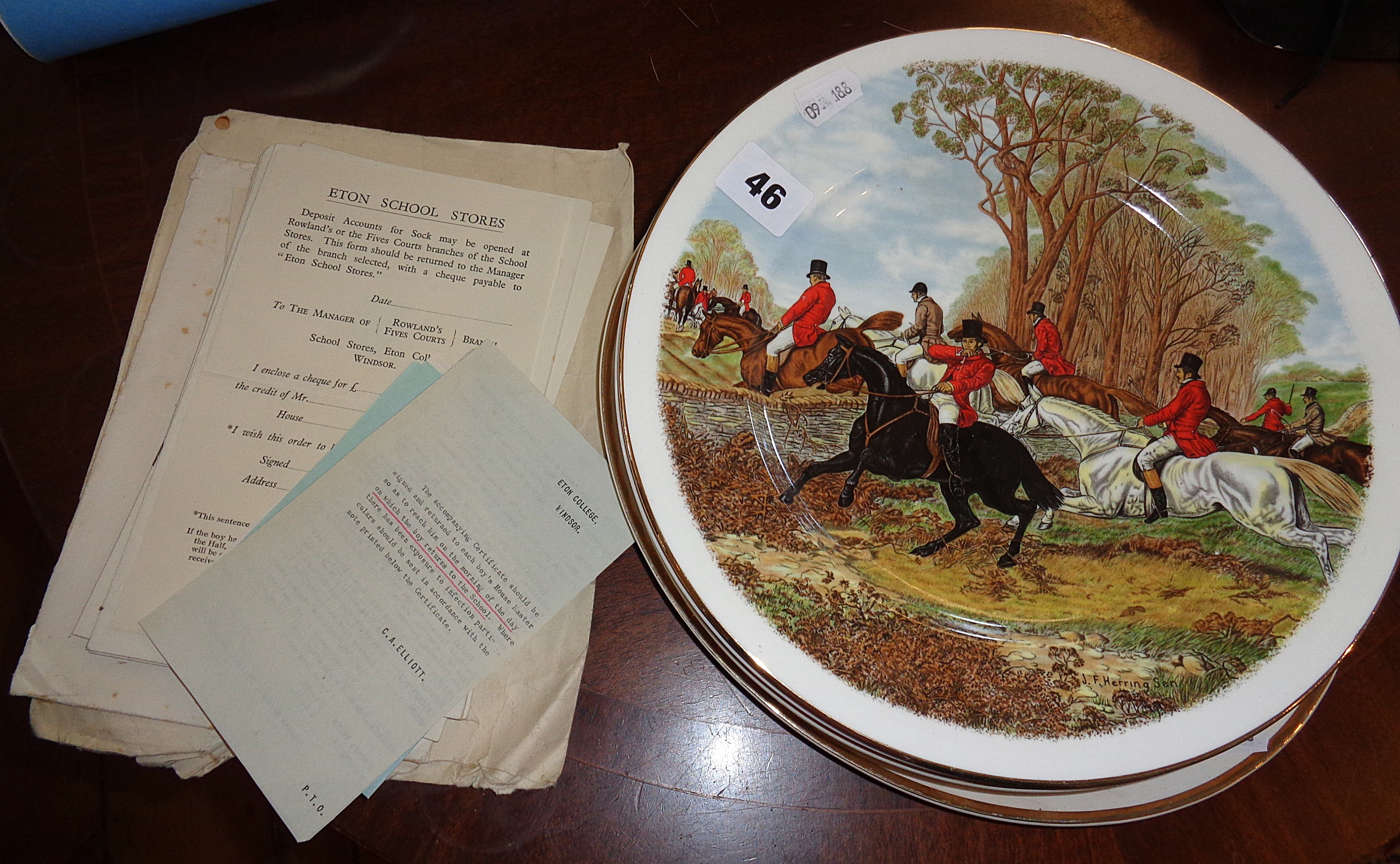 Lot 46 - Paper ephemera relating to Eton College, c. 1940's, together with 8 china plates having hunting