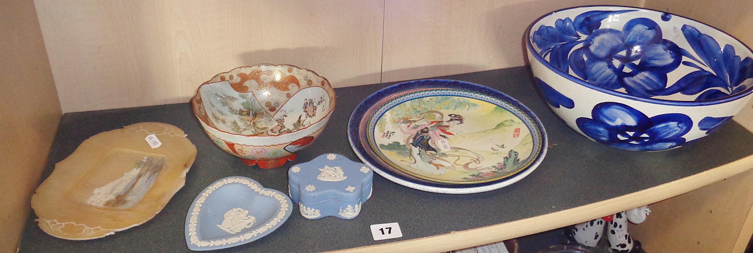 Lot 17 - An Ian Barton studio pottery plate, a Japanese Satsuma bowl and plate etc. (7 pieces)