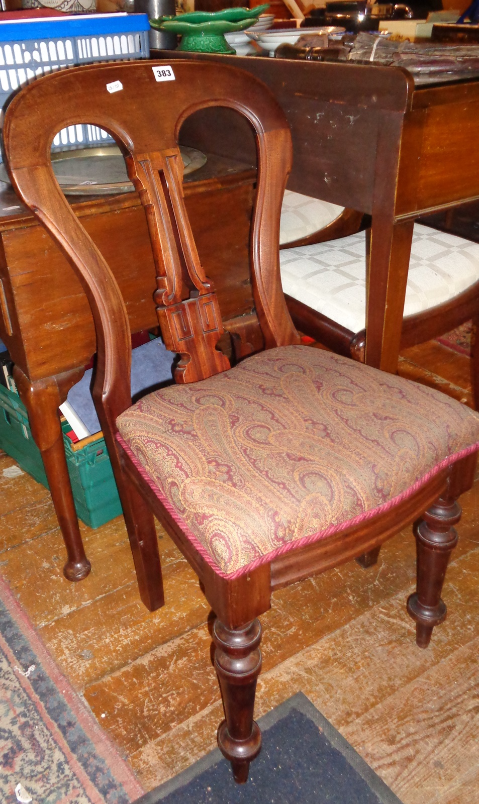 Lot 383 - Mahogany spoon-back dining chair with paisley seat